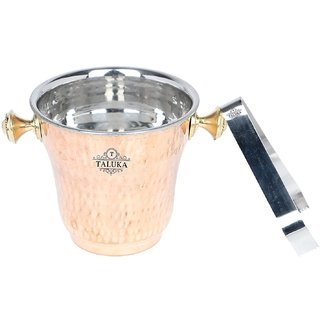 Taluka (5.5 x 5.5 inches approx) Copper Stainless Steel Ice Bucket Champagne bucket Capacity- 1500 ml Free Tong Bar Ware Restaurant Home Gift Purpose