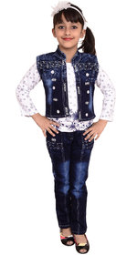 Arshia Fashions  Girls Dress Top And Jeans With Denim Jacket -Full Sleeves - Party Wear