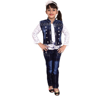 Buy Arshia Fashions Girls Dress Top And Jeans With Denim Jacket