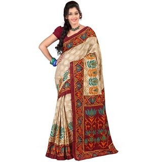 Triveni Multicolor Art Silk Printed Saree With Blouse