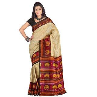 Triveni Multicolor Jute Silk Printed Saree With Blouse