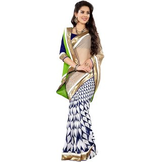 Triveni White Georgette Plain Saree With Blouse