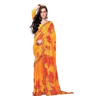 Triveni Multicolor Chiffon Printed Saree With Blouse