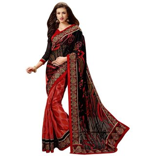 Triveni Red Brasso Plain Saree With Blouse