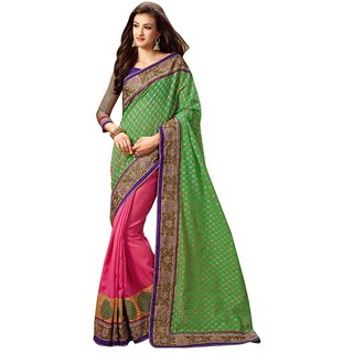 Triveni Multicolor Jacquard Lace Saree With Blouse