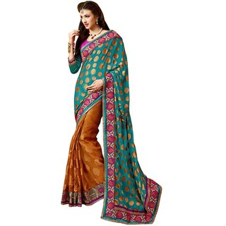 Triveni Multicolor Brasso Jacquard Lace Saree With Blouse