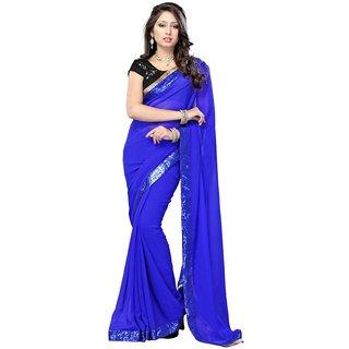 Triveni Blue Georgette Plain Saree With Blouse