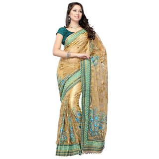Triveni Multicolor Net Embroidered Saree With Blouse