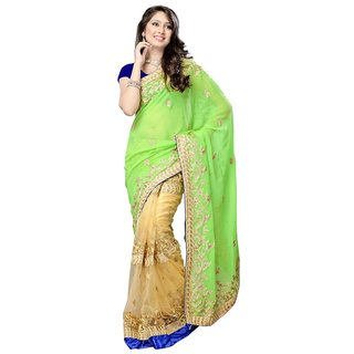 Triveni Multicolor Chffion Net Embroidered Saree With Blouse