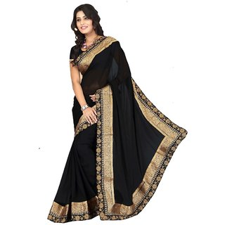 Triveni Multicolor Faux Georgette Lace Saree With Blouse
