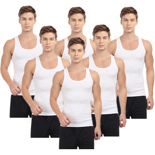 Fashion Trend Men's White Vest pack of 6