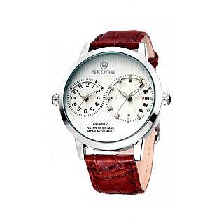 Skone Imported Trendy Casual Analog Chronograph Leather Quartz Men Watch - NWA04S030C0