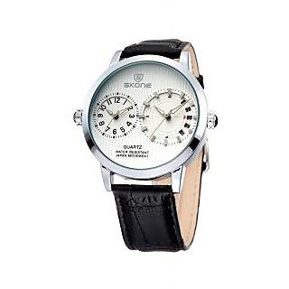 Skone Imported Trendy Casual Analog Chronograph Leather Quartz Men Watch - NWA04S032C0