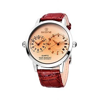 Skone Imported Trendy Casual Analog Chronograph Leather Quartz Men Watch - NWA04S046C0