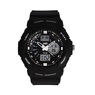Skmei Imported Trendy Casual Analog & Digital PU Quartz Mens Watch - NWA05S014C0