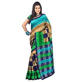 Triveni Multicolor Art Silk Printed Saree With Blouse