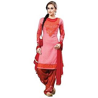 Triveni Astounding Embroidered Patiyala Style Cotton Salwar Kameez (Unstitched)