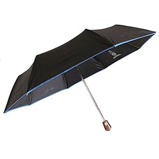 Sun Brand Lotus Blue Piping_ 3 Fold Automatic Open Umbrella
