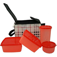 Topware Check Red 4 container lunch Box( with Bag)