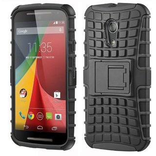 SIFAT  Shock Proof Defender Hard Back Case Cover Kick Stand for Moto G2 - BLACK