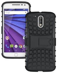 SIFAT  Motorola Moto G4 / Moto G4 Plus Back Cover Armor Defender KickStand Case - BLACK