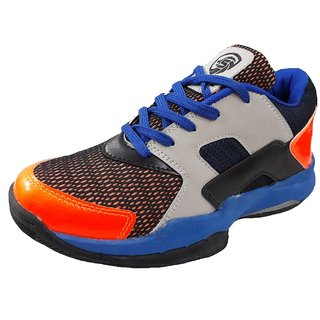 Port Mens Orange Blue Labron Pu Badminton Shoes