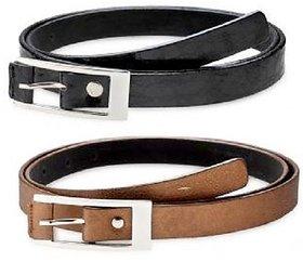 Classy Buckle Women Leather Belt (Pack of 2)