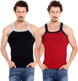 Fashion Trend Mens Gym Vest pack of 2(Black and Red)