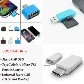 Combo OF Micro USB OTG Adapter+Type C Charging Connector+Micro Usb Cum USB Card Reader