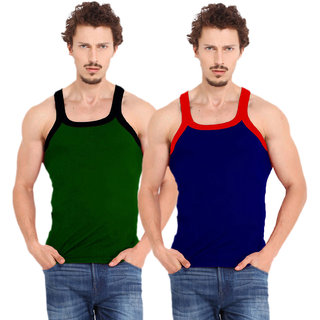 Fashion Trend Mens Gym Vest pack of 2(Green and Navy)