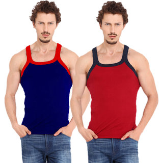 Fashion Trend Mens Gym Vest pack of 2(Navy and Red)