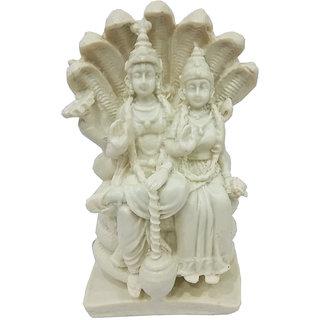 White Lord Vishnu on Shesh Nag with Goddess Lakshmi/ Hindu God Statue