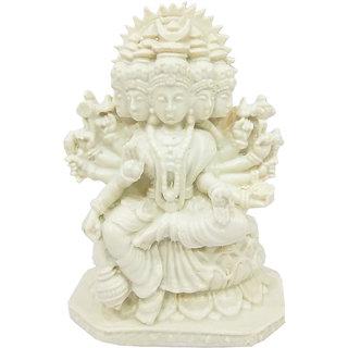 The Panchmukhi White Laxmi Mata Marble Dust Statue