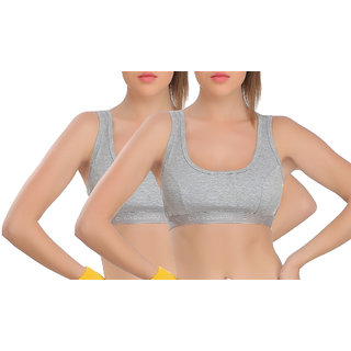 EveS Beauty Womens Gray Sports Bra - Pack Of 2