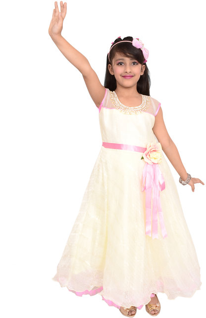 03b95262bcf Arshia Fashions girls party dresses - sleeveless - Party wear - Long -  Offwhite Party Gown ...