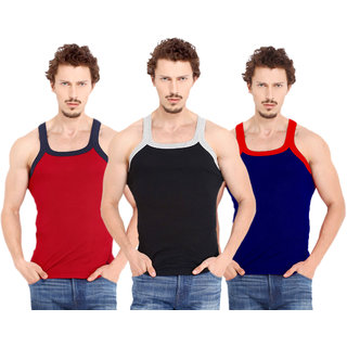 Fashion Trend Mens Gym Vest pack of 3(Red,Black,Navy)