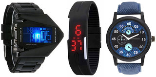 Jack Klein Combo of Stylish Triangle Led Watch, Magnetic Led Watch And Denim Finish Watch