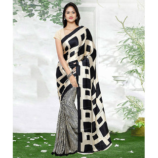 Meia Beige Crepe Animal Saree With Blouse