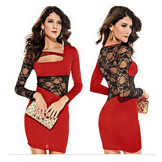 e6a60950e Designer Sexy One piece Mini dress with net long sleeves & waist net ...