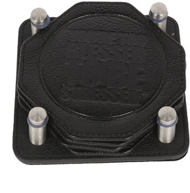 JL Collections Black Leather Coasters