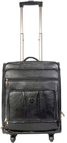 JL Collections 22 Inches Black Leather trolley Bag