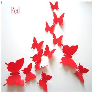 Jaamso Royals 'Red 3D Butterflies' Wall Sticker 1 Combo of 12 Piece (PVC Vinyl, 13 cm x 15 cm , 3D Stickers )