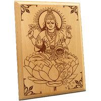 Maa Laxmi Wooden Engraved Plaque - 4977632