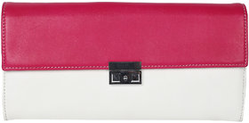 Jl Collections Pink And White Women's Leather Clutch