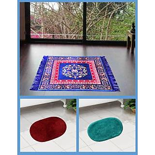 Azaani beautiful jute blue seating mat with two oval cotton bathmat,AZ1BLUESITTINGMATWITH2OVALBATHMAT-30