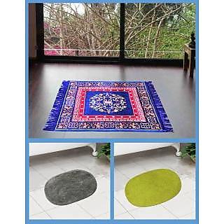 Azaani beautiful jute blue seating mat with two oval cotton bathmat,AZ1BLUESITTINGMATWITH2OVALBATHMAT-51