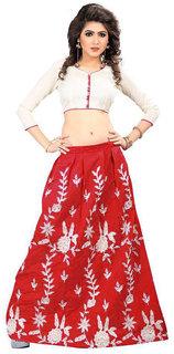 Bhuwal Fashion Red Bangalore Silk Anarkali Semi-Stitched Suit