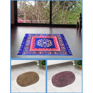 Azaani beautiful jute blue seating mat with two oval cotton bathmat,AZ1BLUESITTINGMATWITH2OVALBATHMAT-65