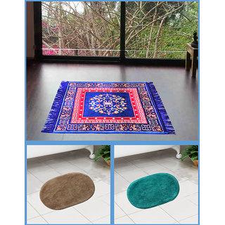 Azaani beautiful jute blue seating mat with two oval cotton bathmat,AZ1BLUESITTINGMATWITH2OVALBATHMAT-66