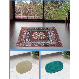 Azaani beautiful jute brown seating mat with two oval cotton bathmat,AZ1BROWNSITTINGMATWITH2OVALBATHMAT-89